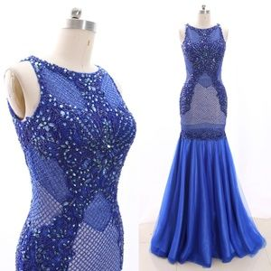 Dresses & Skirts - Mermaid Crystal Royal Blue Prom Dress Pageant Gown